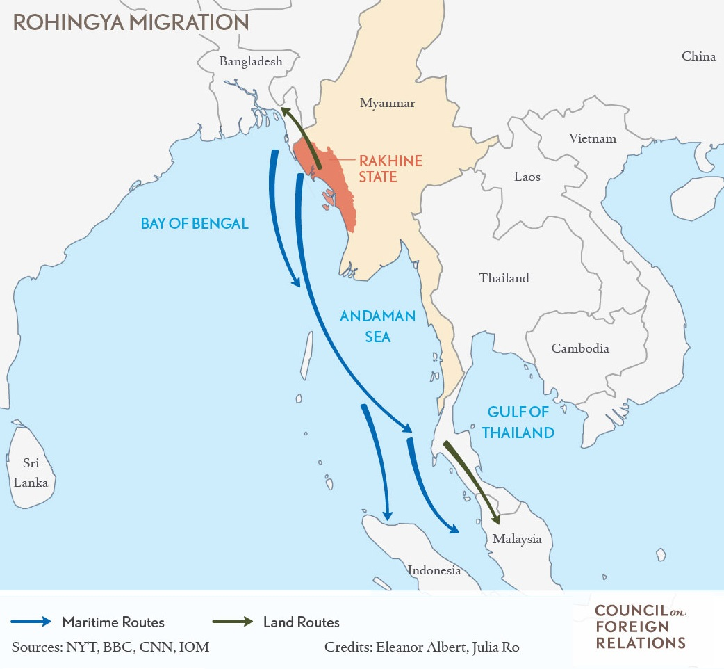 Rohingya Migration map